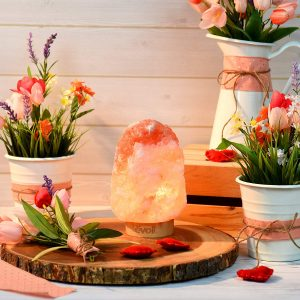 Himalayan / Hymilain Sea Salt Lamps, Pink Crystal Large Salt Rock Lamp,Night Light,Real Rubber Wood Base, Self Care