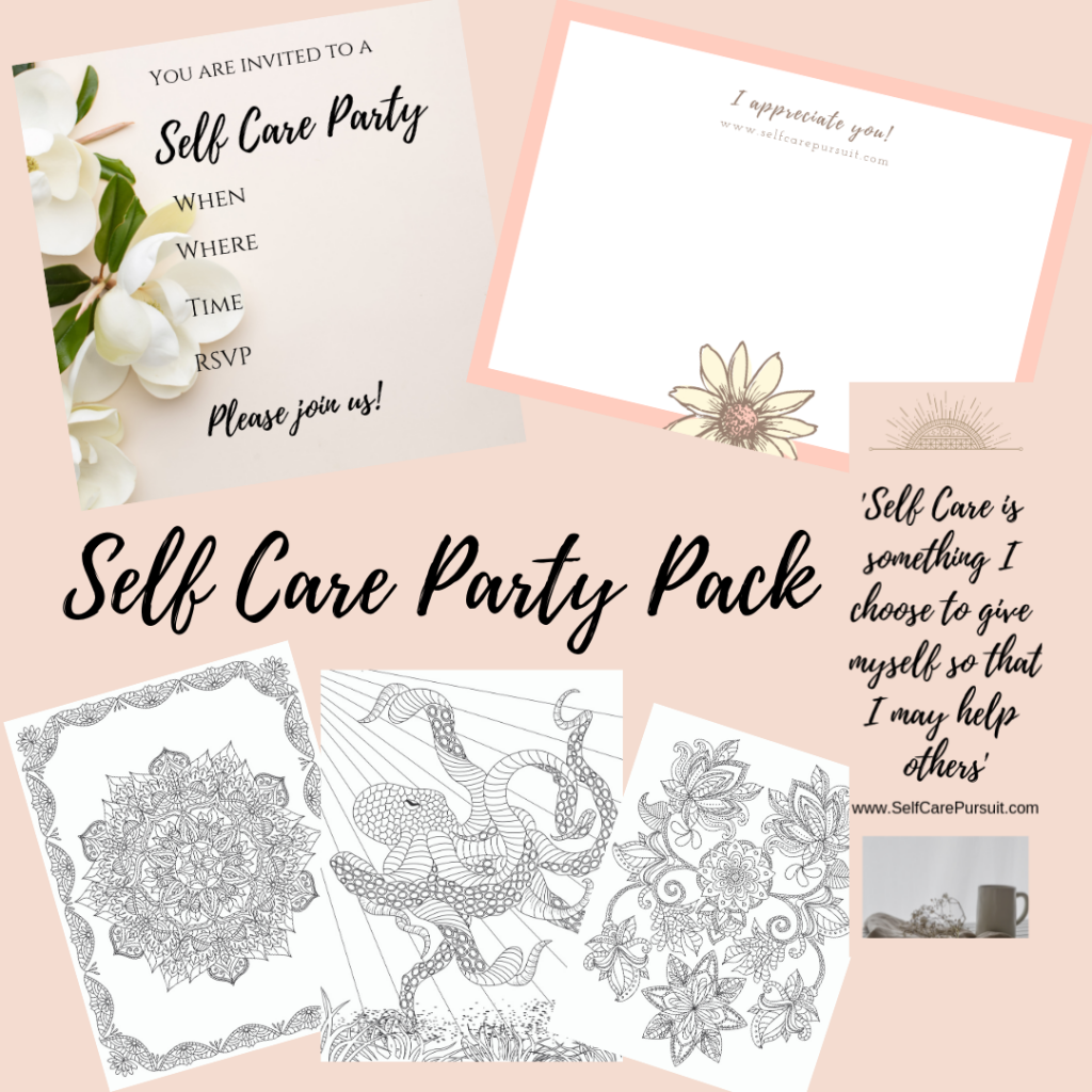 Self Care Party Pack included items infographic