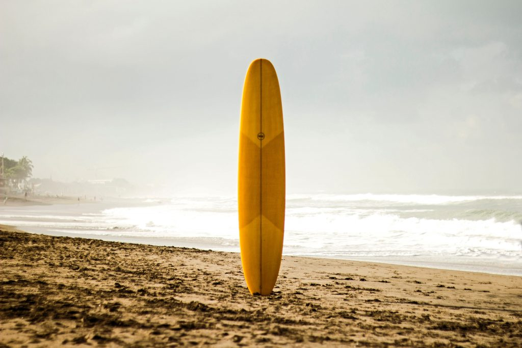 Mindset brown surfboard standing on sea shore